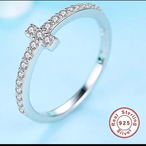 Cubic Zirconia Crystal S925 Sterling Silver Ring 8